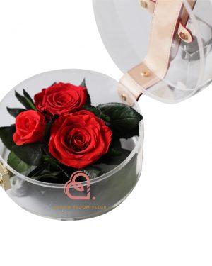玫瑰保鮮花手提盒(紅色)
