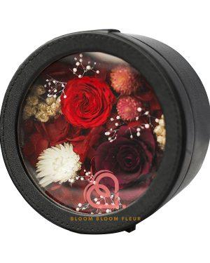 圓形迷你保鮮花禮盒(紅色)