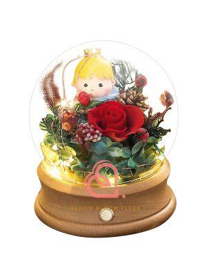 小王子保鮮花藍牙玻璃罩(紅色)