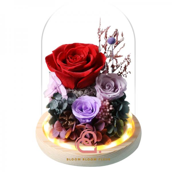 糖果系列保鮮花玻璃罩(紅色)