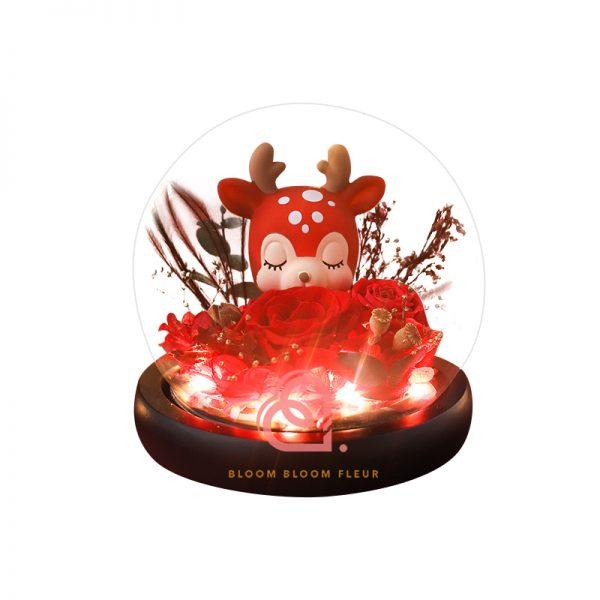小鹿保鮮花玻璃罩(紅色)