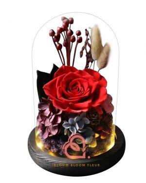 玫瑰綉球保鮮花玻璃罩(紅色)