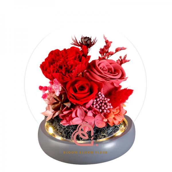 康乃馨保鮮花玻璃罩 (紅色