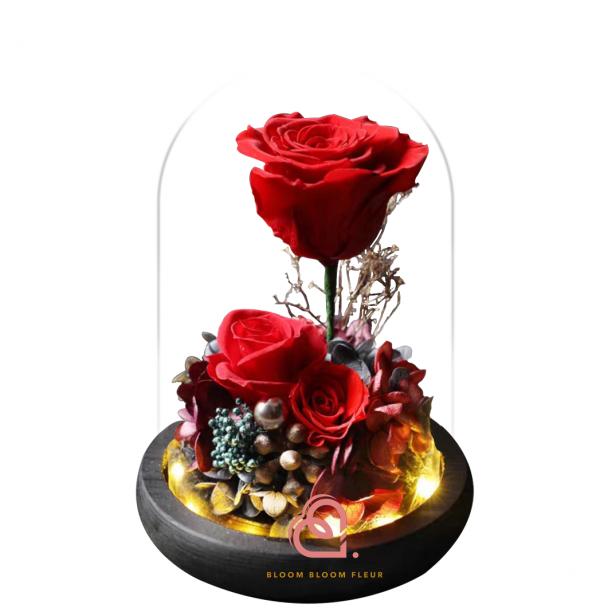 三支玫瑰花玻璃罩(紅色)