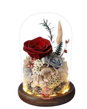 雙玫瑰玻璃罩(紅色)