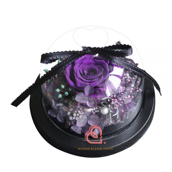 迷你愛心玻璃罩(紫色玫瑰)