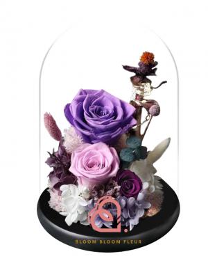 組合款保鮮花玻璃罩(紫色)