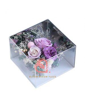 鏡面四邊形保鮮花禮盒(紫色)