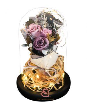 保鮮花花束玻璃罩(紫色)