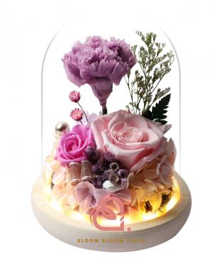 玫瑰及康乃馨玻璃罩(紫色)