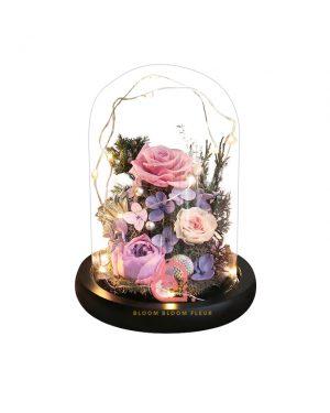 庭園玫瑰保鮮花玻璃罩(紫色)