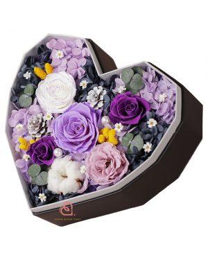 心形保鮮花大禮盒多色款(紫色)