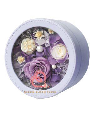 圓形迷你保鮮花禮盒(紫色)