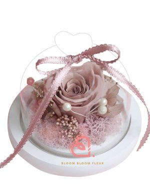 迷你愛心玻璃罩(膚色玫瑰)