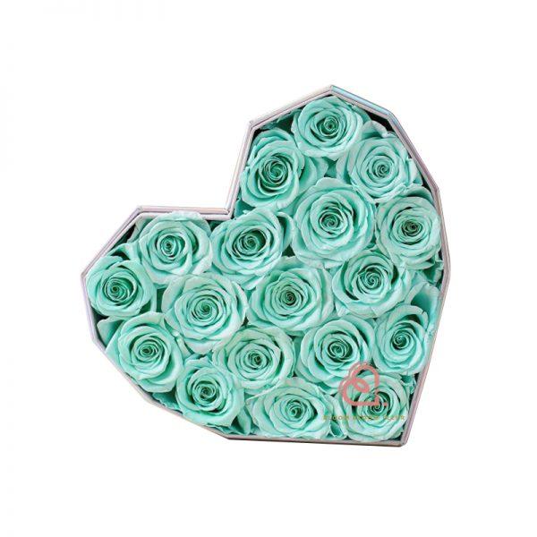 心形保鮮花大禮盒(藍綠色)