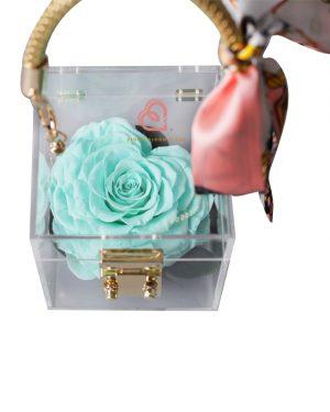 單支玫瑰保鮮花透明禮盒(藍綠色)