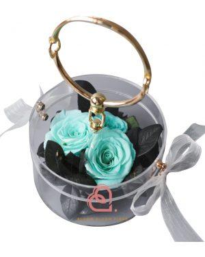 玫瑰保鮮花手提盒(藍綠色)