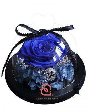 迷你愛心玻璃罩(藍色玫瑰)