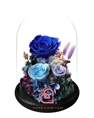 組合款保鮮花玻璃罩(藍色)