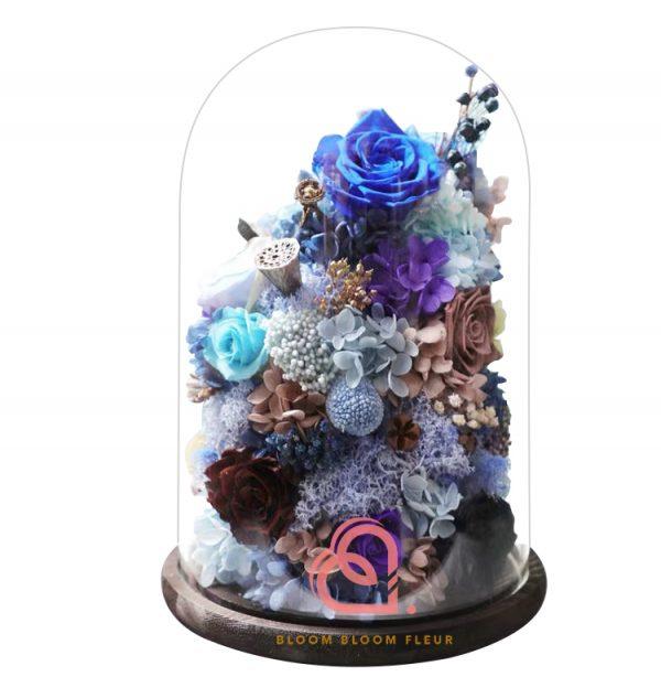 巨形保鮮花玻璃罩(藍色)