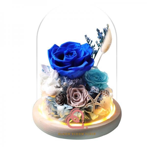糖果系列保鮮花玻璃罩(藍色)