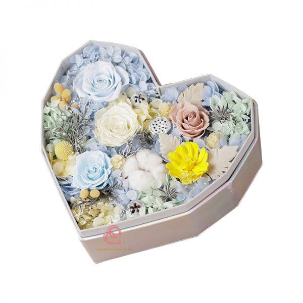 心形保鮮花大禮盒多色款(藍色)