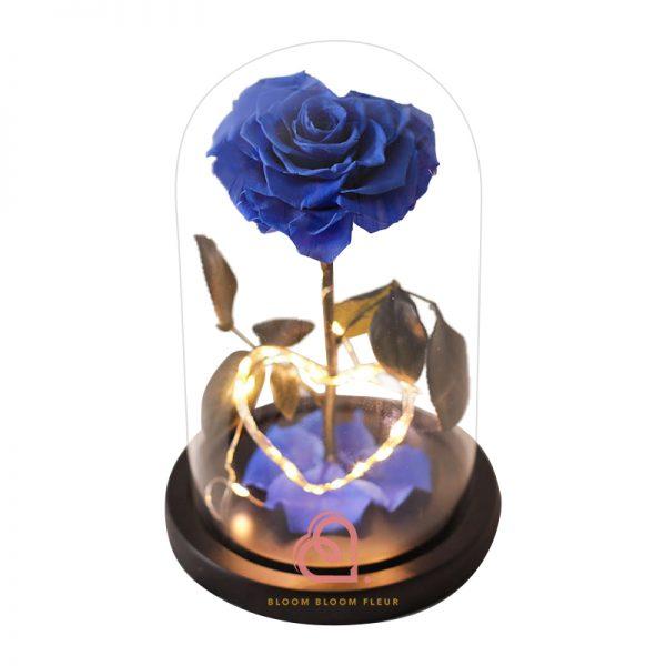 單支心形保鮮花玫瑰玻璃罩(藍色)