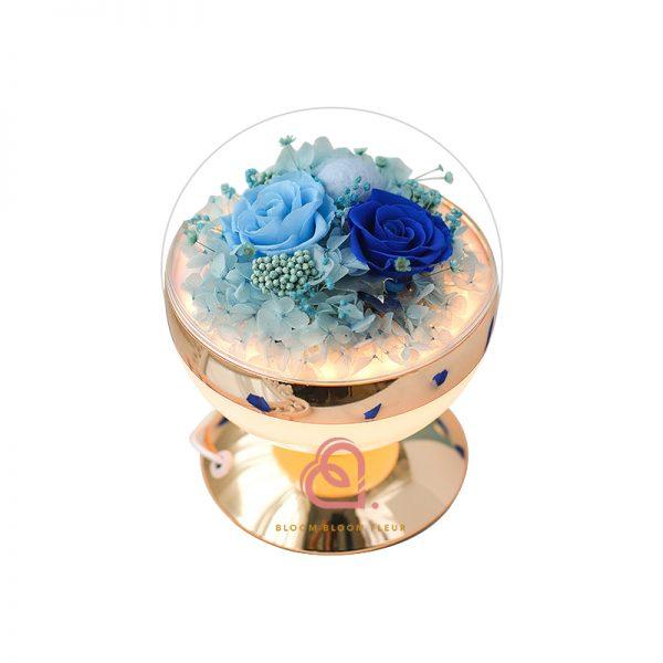 圓球形燈罩枱燈(藍色)