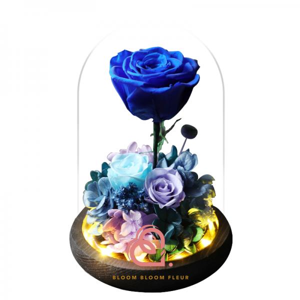 三支玫瑰花玻璃罩(藍色)