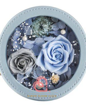 圓形迷你保鮮花禮盒(藍色)