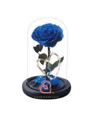 心型燈單支玫瑰保鮮花玻璃罩(藍色)