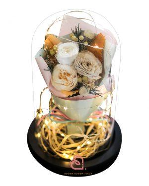 保鮮花花束玻璃罩(香檳色)