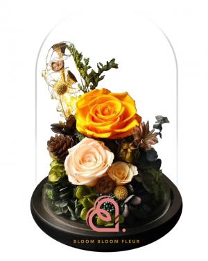 組合款保鮮花玻璃罩(黃色)