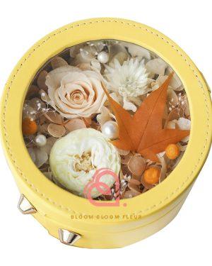 圓形迷你保鮮花禮盒(黃色)