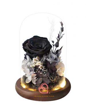 雙玫瑰玻璃罩(黑色)