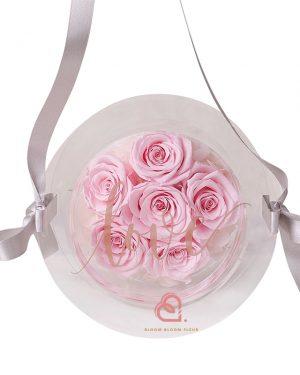 6支玫瑰保鮮花糖果盒(粉紅色)
