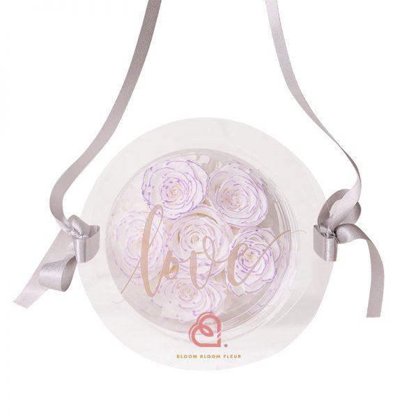6支玫瑰保鮮花糖果盒(紫白色)