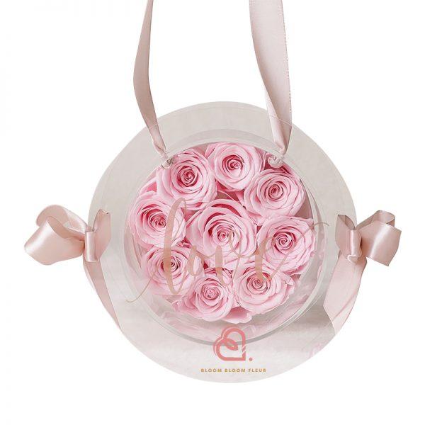 9支玫瑰保鮮花糖果盒(粉紅色)