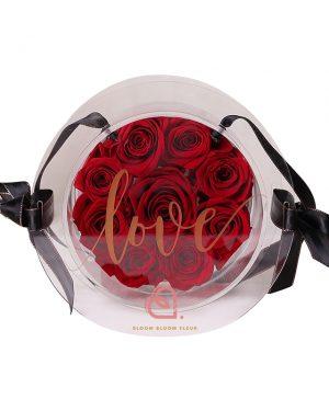 9支玫瑰保鮮花糖果盒(紅色)