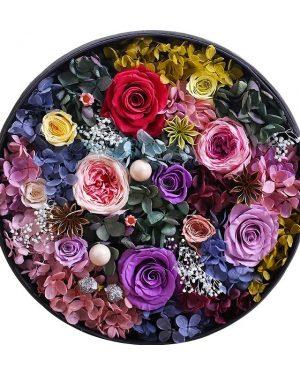 大圓型保鮮花彩色花園禮盒