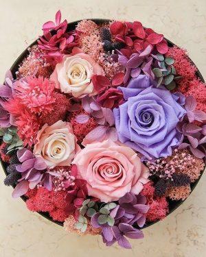 圓型保鮮花彩色花園禮盒,
