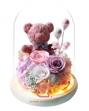 糖果系列保鮮花玻璃罩與小熊,